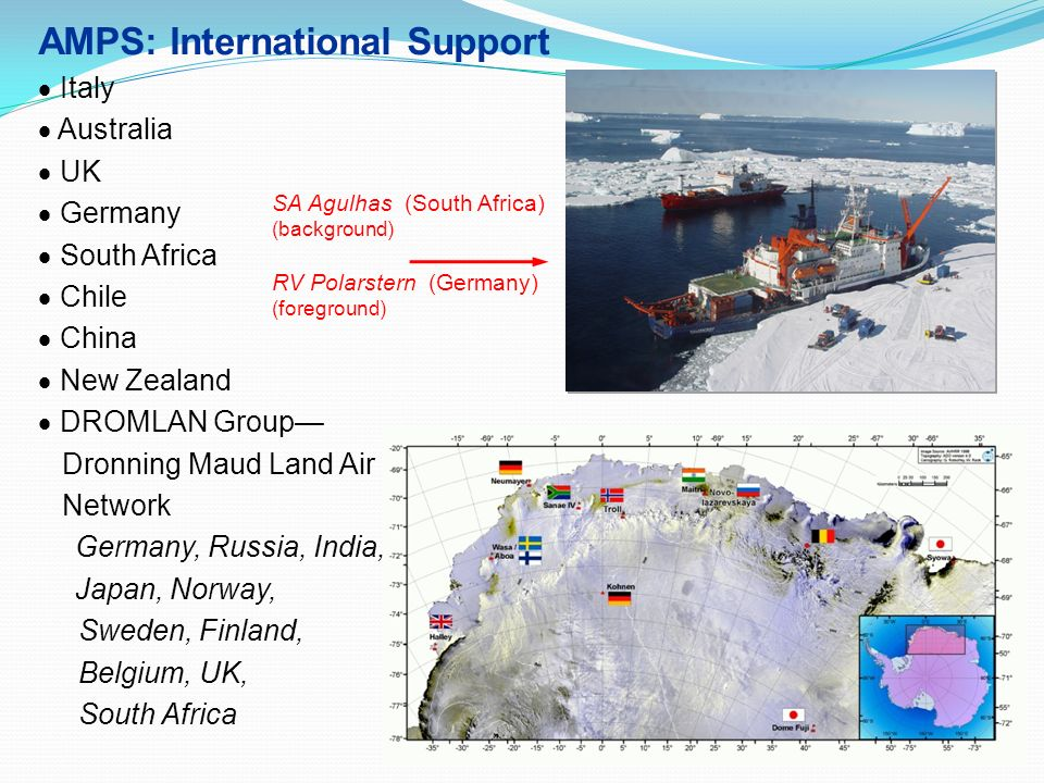 AMPS: International Support Italy Australia UK Germany South Africa Chile China New Zealand DROMLAN Group Dronning Maud Land Air Network Germany, Russ