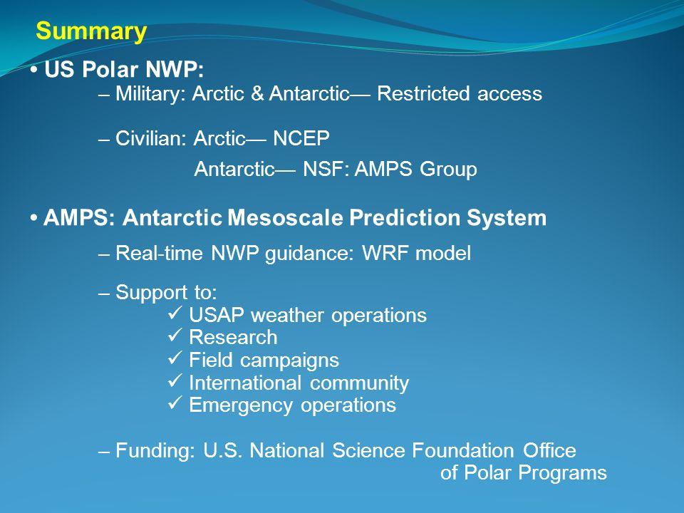 US Polar NWP: – Military: Arctic & Antarctic Restricted access – Civilian: Arctic NCEP Antarctic NSF: AMPS Group AMPS: Antarctic Mesoscale Prediction