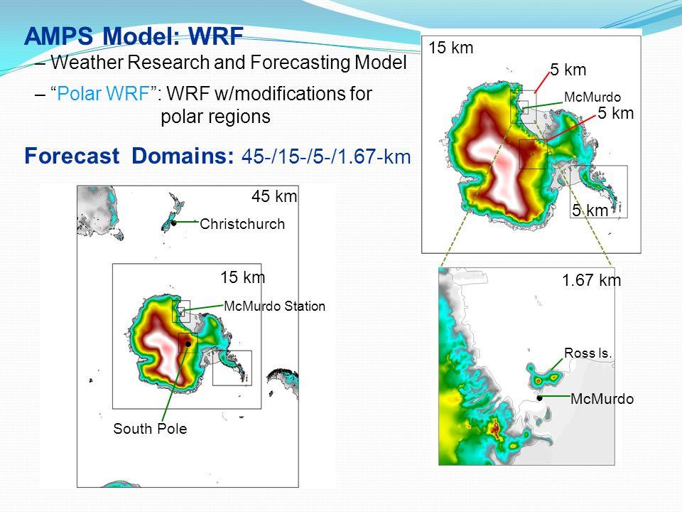 1.67 km 15 km 5 km McMurdo 45 km 15 km Christchurch South Pole McMurdo Station AMPS Model: WRF – Weather Research and Forecasting Model – Polar WRF: W
