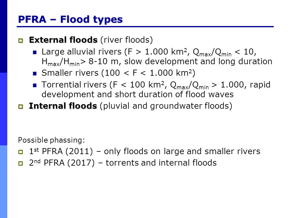 PFRA – Flood types External floods External floods (river floods) Large alluvial rivers (F > 1.000 km 2, Q max /Q min 8-10 m, slow development and lon