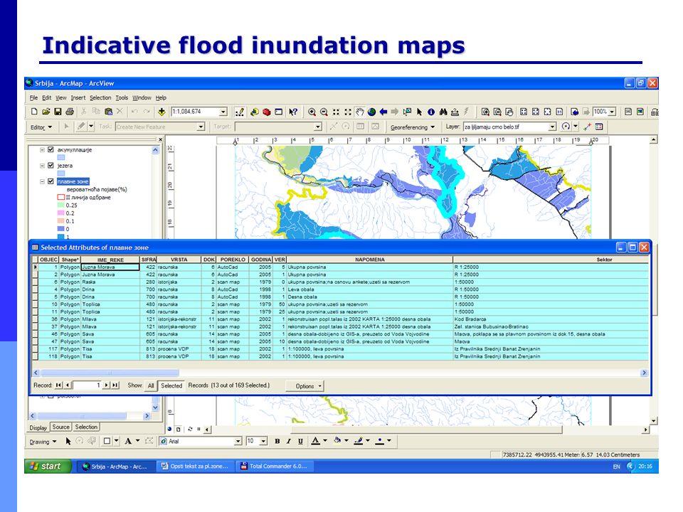 Indicative flood inundation maps