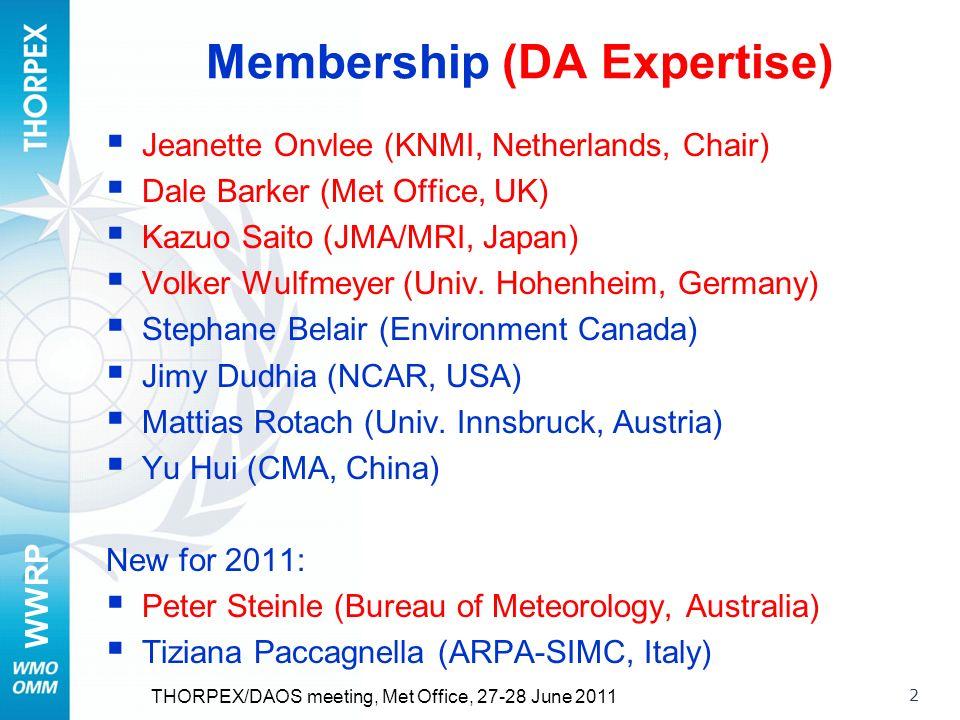 WWRP 2 Membership (DA Expertise) Jeanette Onvlee (KNMI, Netherlands, Chair) Dale Barker (Met Office, UK) Kazuo Saito (JMA/MRI, Japan) Volker Wulfmeyer (Univ.