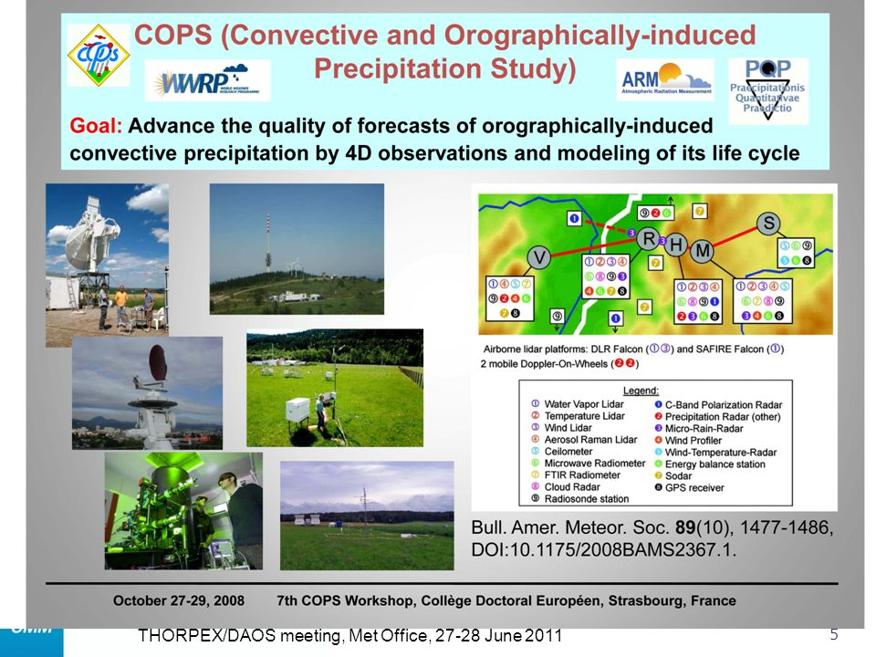 WWRP 5 THORPEX/DAOS meeting, Met Office, June 2011