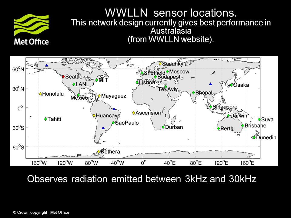© Crown copyright Met Office WWLLN sensor locations.