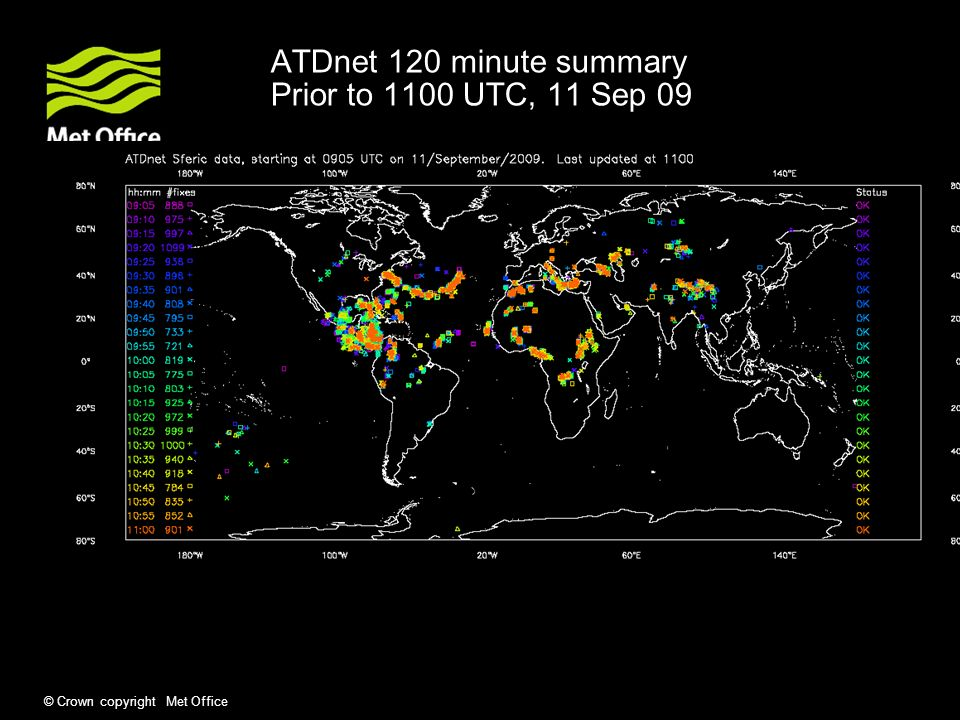 © Crown copyright Met Office ATDnet 120 minute summary Prior to 1100 UTC, 11 Sep 09