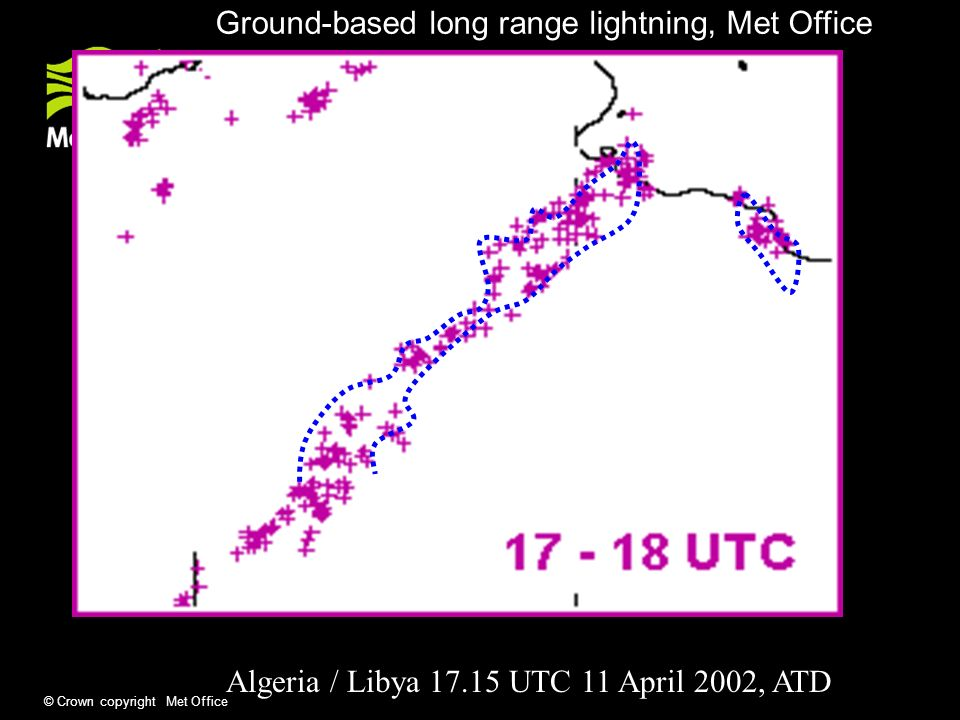 © Crown copyright Met Office Algeria / Libya UTC 11 April 2002, ATD Ground-based long range lightning, Met Office