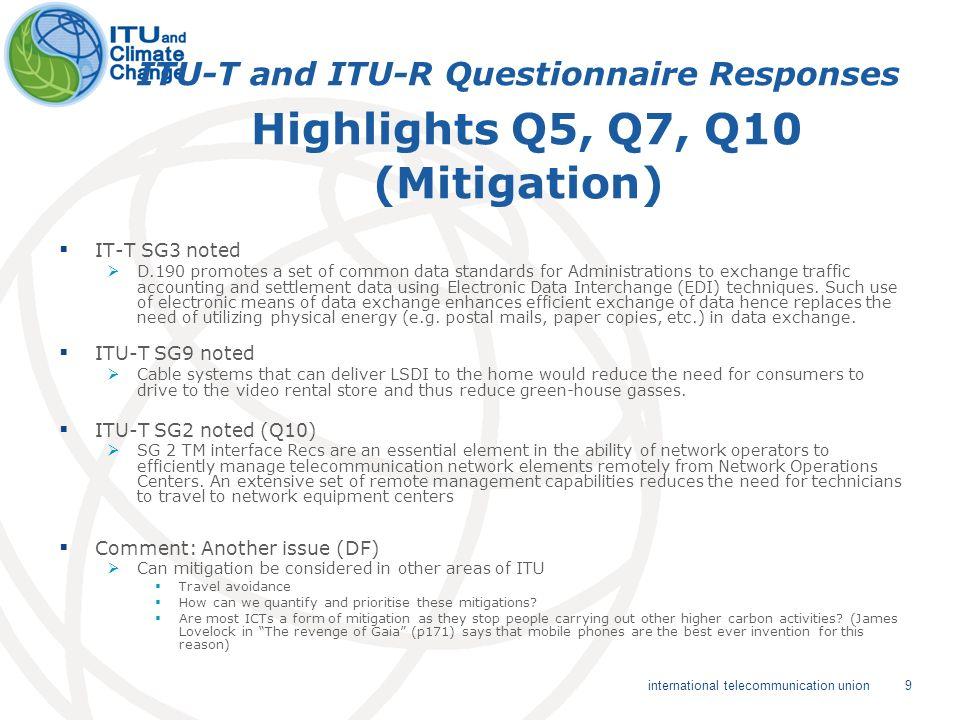 9 international telecommunication union ITU-T and ITU-R Questionnaire Responses Highlights Q5, Q7, Q10 (Mitigation) IT-T SG3 noted D.190 promotes a se