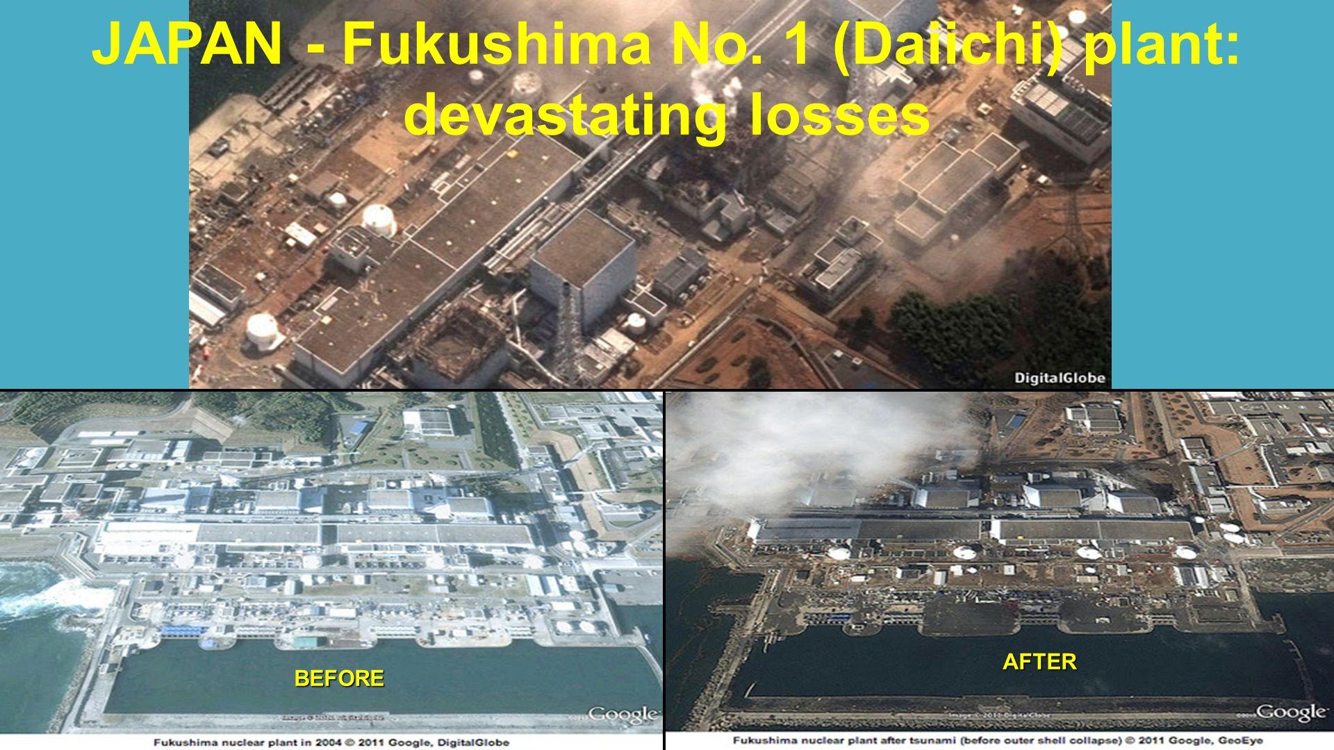 JAPAN - Fukushima No. 1 (Daiichi) plant: devastating lossesBEFORE AFTER