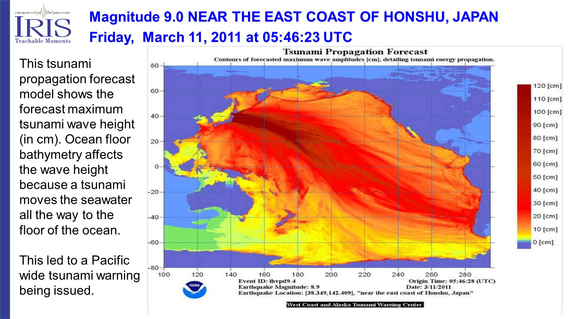 This tsunami propagation forecast model shows the forecast maximum tsunami wave height (in cm). Ocean floor bathymetry affects the wave height because