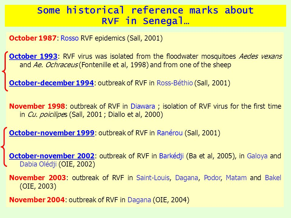 RVF in the world… RVF has been for the 1 st time in 1931 au Kenya by Montgomery and Stordy (Christophe et al., 1997) November 2007: RVF epidemics in Soudan 161 human death June 2007: 1062 of RVF cases (315 human death in Kenya, Tanzania and Somalia) Since 2000, RVF went out from Africa to Asia (Yemen and Saoudi Arabia RVF events; OIE, 2000; WHO, 2000) 2008: RVF in Mayotte (Sissoko, 2009)