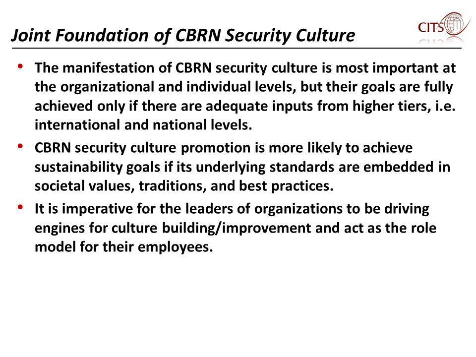 Joint Foundation of CBRN Security Culture The manifestation of CBRN security culture is most important at the organizational and individual levels, bu