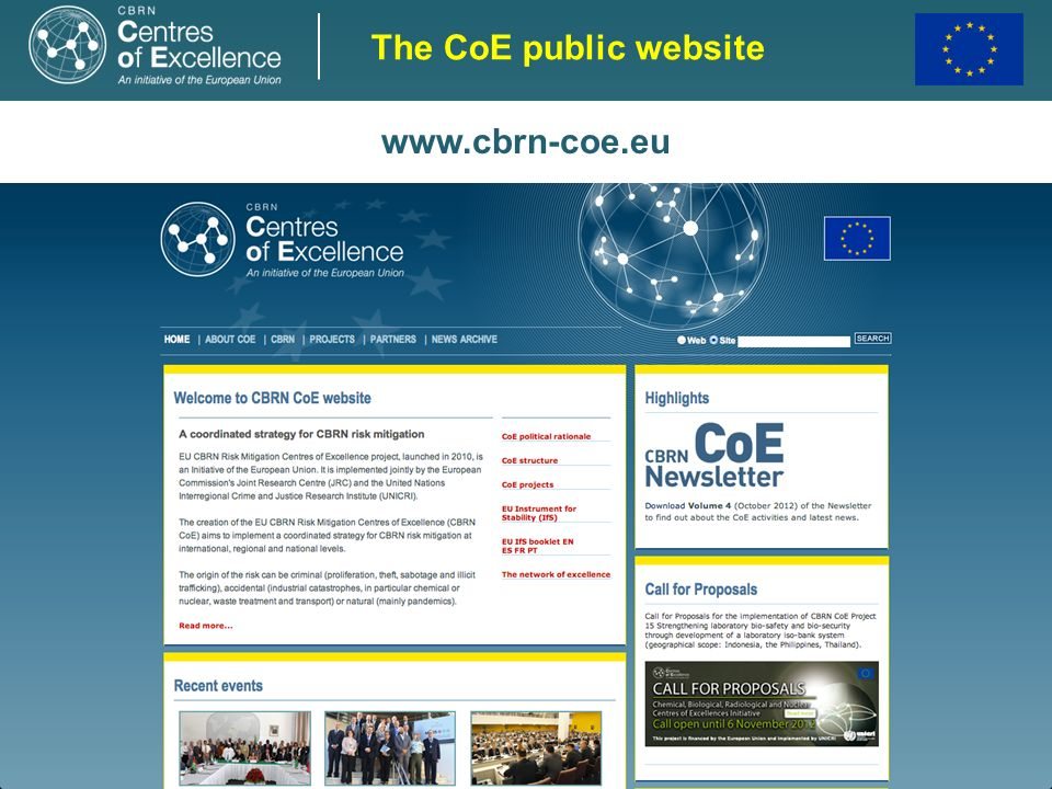 T EMPLATE - V ERSION 3.0 - 24 A UGUST 2012 The CoE public website www.cbrn-coe.eu