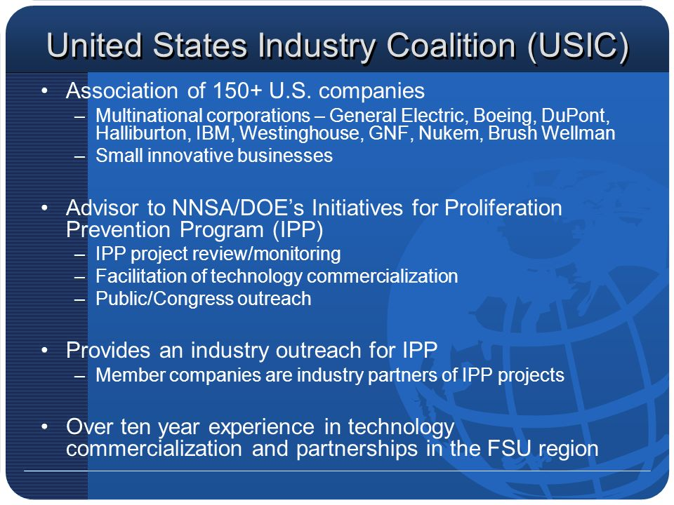 United States Industry Coalition (USIC) Association of 150+ U.S.