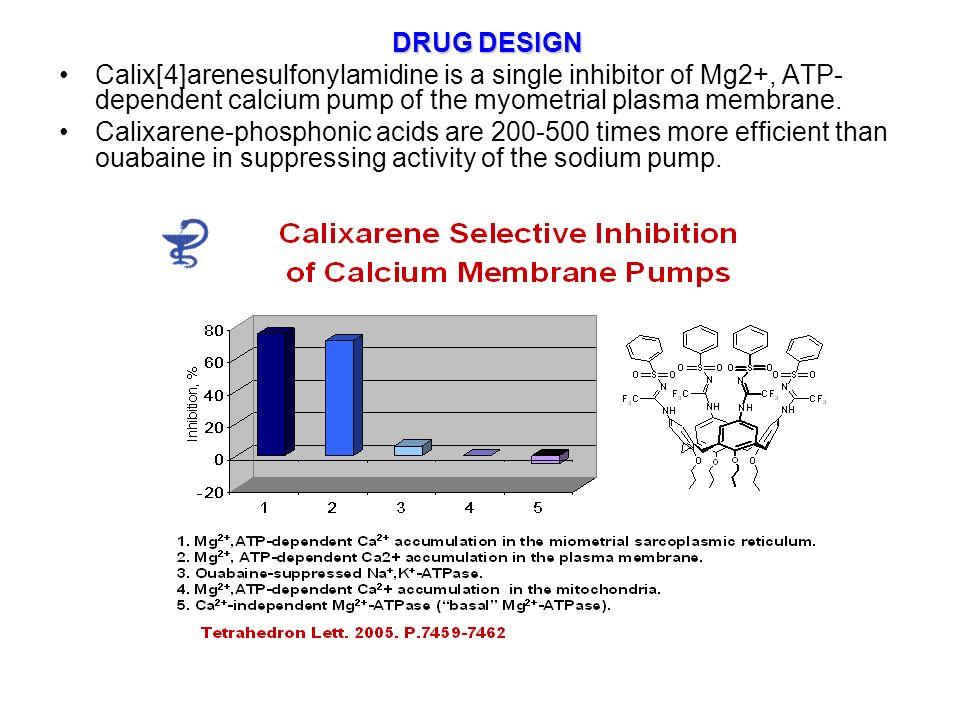 DRUG DESIGN Calix[4]arenesulfonylamidine is a single inhibitor of Mg2+, ATP- dependent calcium pump of the myometrial plasma membrane.