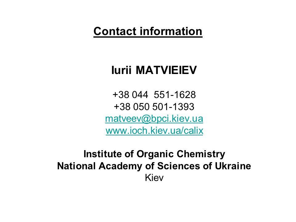 Contact information Iurii MATVIEIEV +38 044 551-1628 +38 050 501-1393 matveev@bpci.kiev.ua www.ioch.kiev.ua/calix Institute of Organic Chemistry National Academy of Sciences of Ukraine Kiev