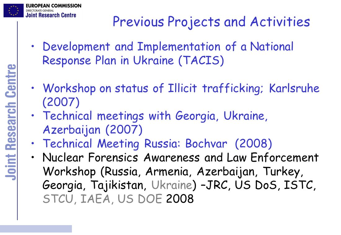 Combating Illicit Trafficking Analytical labs (Bochvar) TACIS/IfS Projects 2005 Combating Illicit Trafficking Forensic Laboratory Border Monitoring Border Monitoring Combating Illicit Trafficking