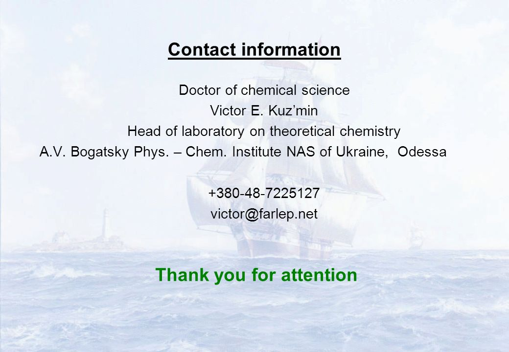 Contact information Doctor of chemical science Victor E.