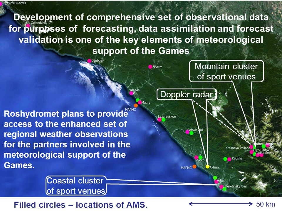Roshydromet plans to provide access to the enhanced set of regional weather observations for the partners involved in the meteorological support of the Games.