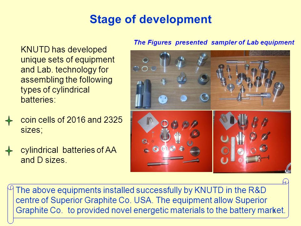 9 Stage of development The Figures presented sampler of Lab equipment KNUTD has developed unique sets of equipment and Lab. technology for assembling