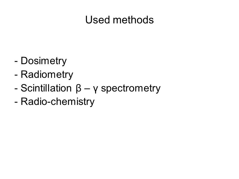 Used methods - Dosimetry - Radiometry - Scintillation β – γ spectrometry - Radio-chemistry