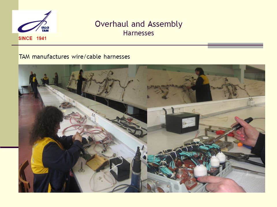 Overhaul and Assembly Harnesses SINCE 1941 TAM manufactures wire/cable harnesses