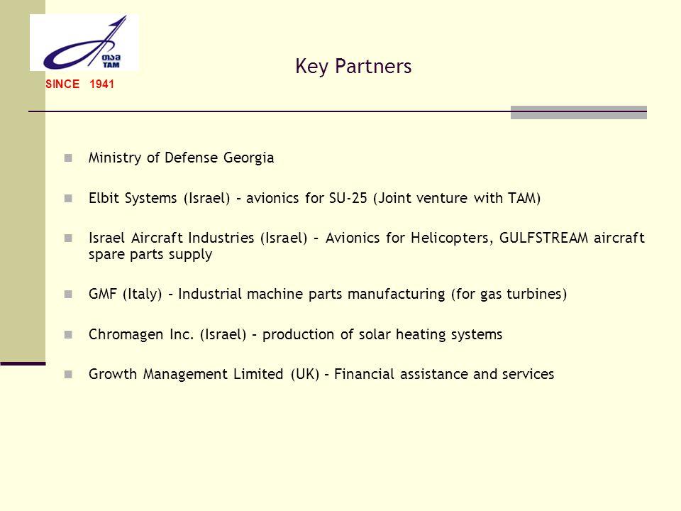 Key Partners Ministry of Defense Georgia Elbit Systems (Israel) – avionics for SU-25 (Joint venture with TAM) Israel Aircraft Industries (Israel) – Av