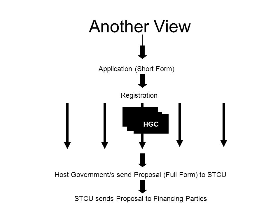 HGC Another View Application (Short Form) Registration Host Government/s send Proposal (Full Form) to STCU STCU sends Proposal to Financing Parties HGC