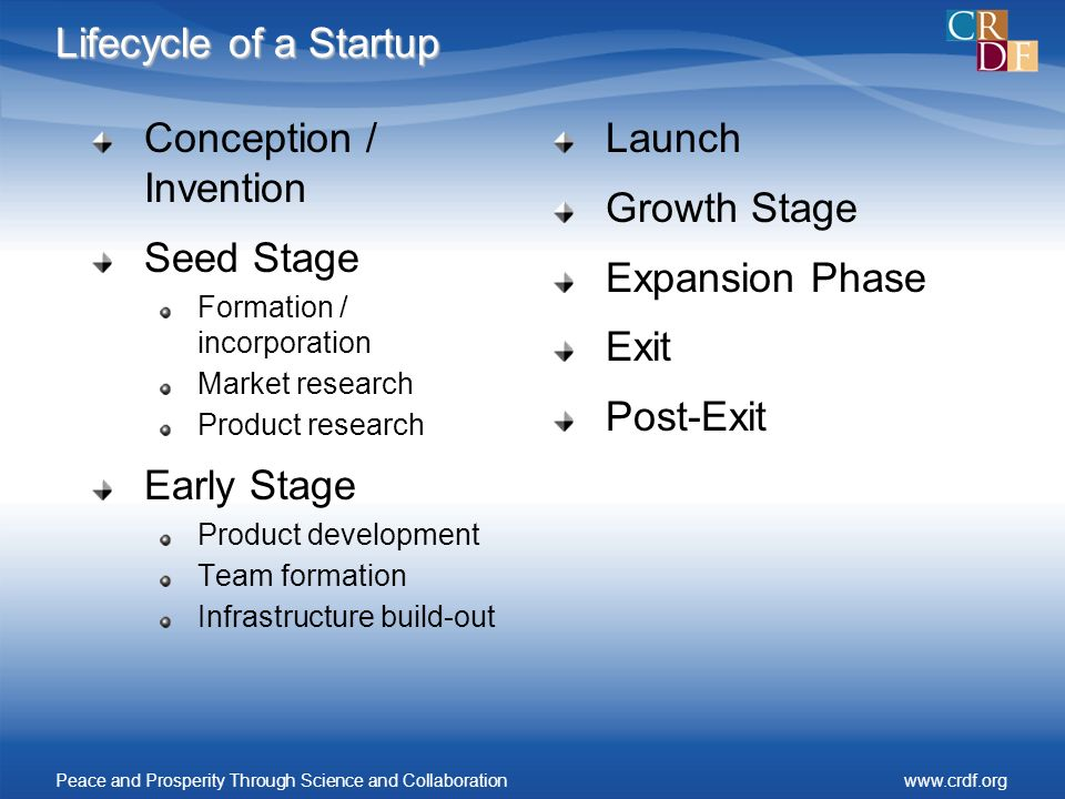 Lifecycle of a Startup Conception / Invention Seed Stage Formation / incorporation Market research Product research Early Stage Product development Team formation Infrastructure build-out Launch Growth Stage Expansion Phase Exit Post-Exit Peace and Prosperity Through Science and Collaborationwww.crdf.org