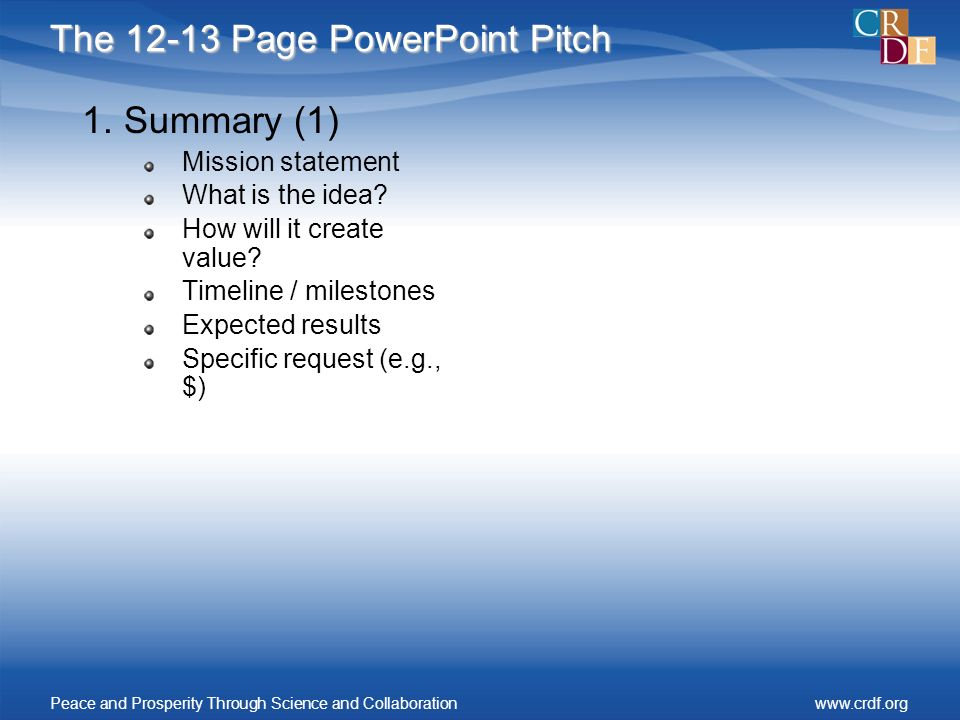 The 12-13 Page PowerPoint Pitch 1.Summary (1) Mission statement What is the idea.