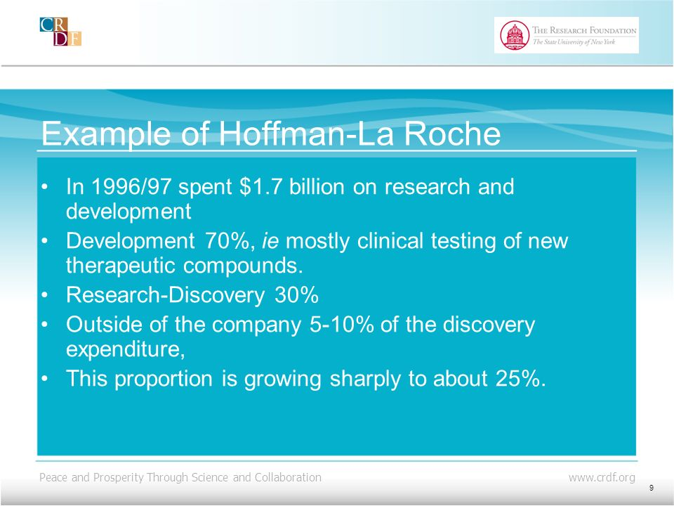 Peace and Prosperity Through Science and Collaboration www.crdf.org Example of Hoffman-La Roche In 1996/97 spent $1.7 billion on research and development Development 70%, ie mostly clinical testing of new therapeutic compounds.