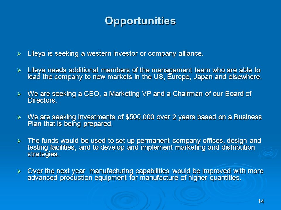 14 Opportunities Lileya is seeking a western investor or company alliance.