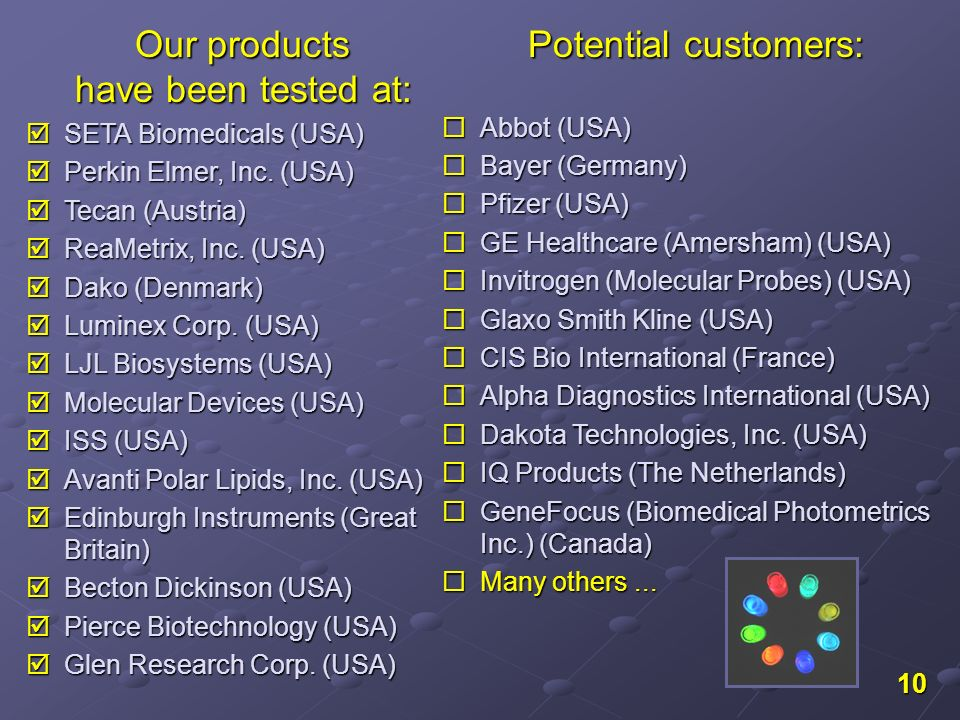 10 Our products have been tested at: Our products have been tested at: SETA Biomedicals (USA) SETA Biomedicals (USA) Perkin Elmer, Inc. (USA) Perkin E