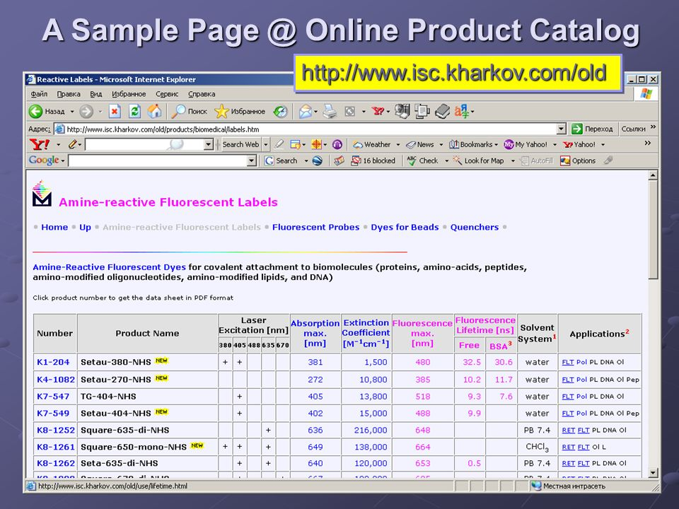7 A Sample Page @ Online Product Catalog http://www.isc.kharkov.com/oldhttp://www.isc.kharkov.com/old