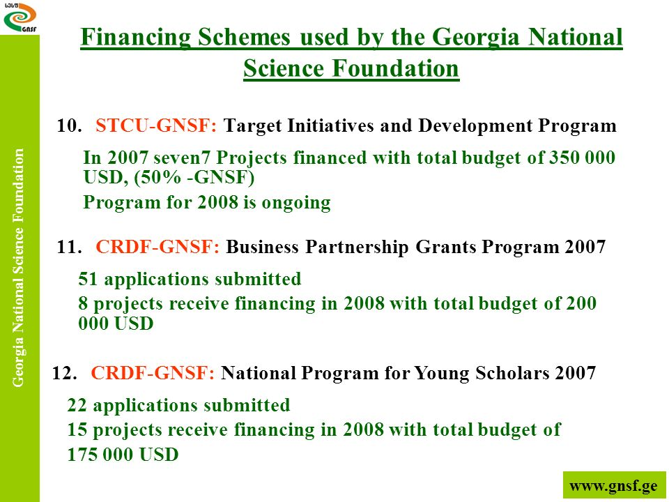 10.STCU-GNSF: Target Initiatives and Development Program Georgia National Science Foundation 11.CRDF-GNSF: Business Partnership Grants Program 2007 In