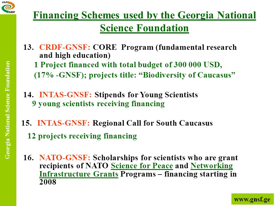 13.CRDF-GNSF: CORE Program (fundamental research and high education) Georgia National Science Foundation 14.INTAS-GNSF: Stipends for Young Scientists