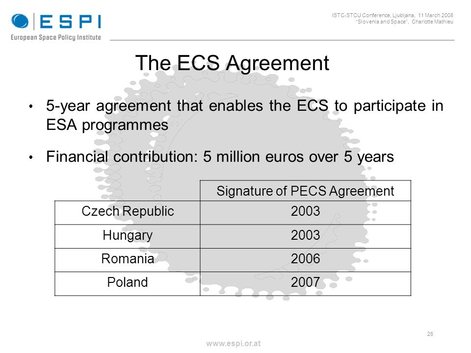 _____________________________________________________ 26 ISTC-STCU Conference, Ljubljana, 11 March 2008 Slovenia and Space, Charlotte Mathieu www.espi.or.at 5-year agreement that enables the ECS to participate in ESA programmes Financial contribution: 5 million euros over 5 years The ECS Agreement Signature of PECS Agreement Czech Republic2003 Hungary2003 Romania2006 Poland2007