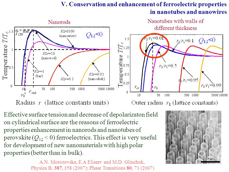 V. Conservation and enhancement of ferroelectric properties in nanotubes and nanowires Nanorods Nanotubes with walls of different thickness Effective