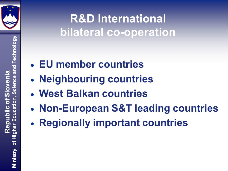 Republic of Slovenia Ministry of Higher Education, Science and Technology EU member countries Neighbouring countries West Balkan countries Non-European S&T leading countries Regionally important countries R&D International bilateral co-operation