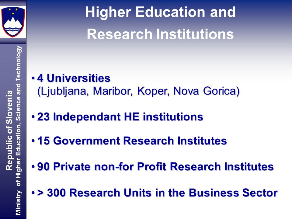 Republic of Slovenia Ministry of Higher Education, Science and Technology Higher Education and Research Institutions 4 Universities4 Universities (Ljubljana, Maribor, Koper, Nova Gorica) 23 Independant HE institutions23 Independant HE institutions 15 Government Research Institutes15 Government Research Institutes 90 Private non-for Profit Research Institutes90 Private non-for Profit Research Institutes > 300 Research Units in the Business Sector> 300 Research Units in the Business Sector