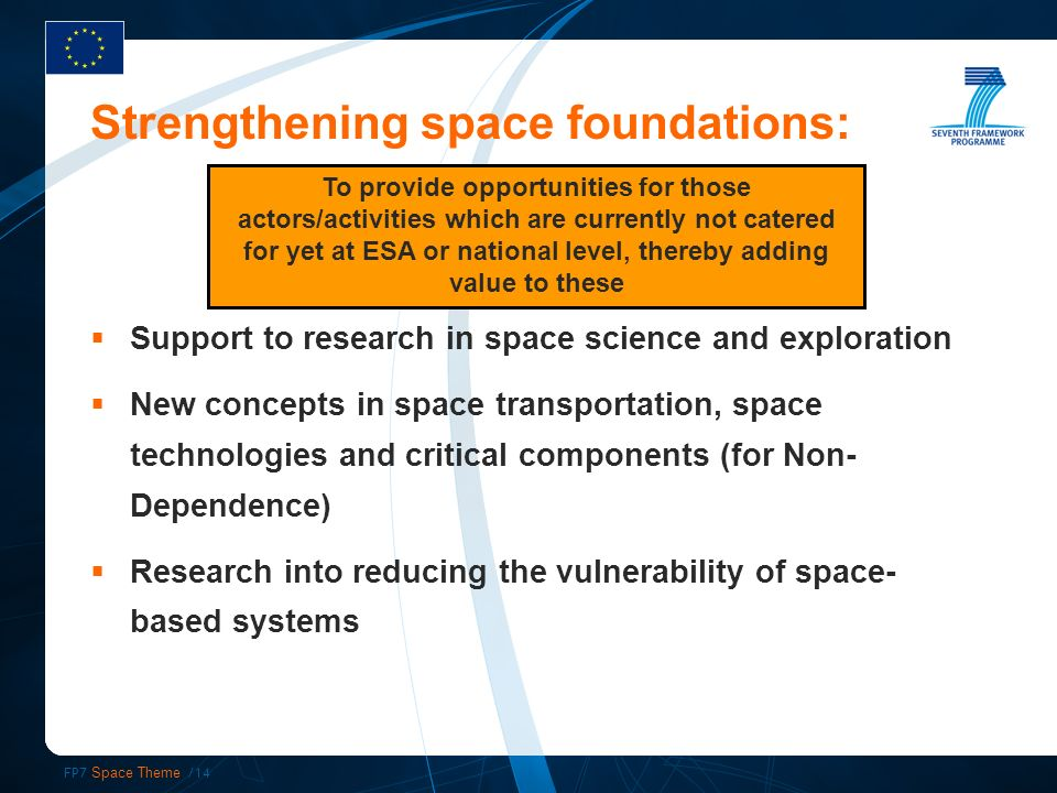FP7 Space Theme /14 Strengthening space foundations: Support to research in space science and exploration New concepts in space transportation, space technologies and critical components (for Non- Dependence) Research into reducing the vulnerability of space- based systems To provide opportunities for those actors/activities which are currently not catered for yet at ESA or national level, thereby adding value to these