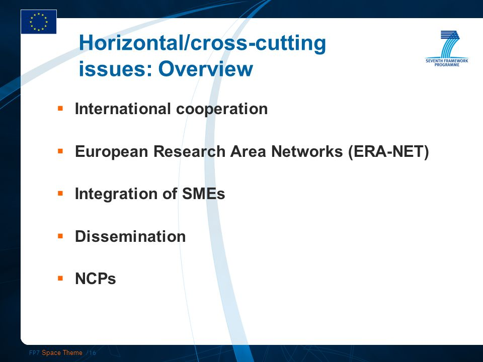 FP7 Space Theme /16 Horizontal/cross-cutting issues: Overview International cooperation European Research Area Networks (ERA-NET) Integration of SMEs Dissemination NCPs