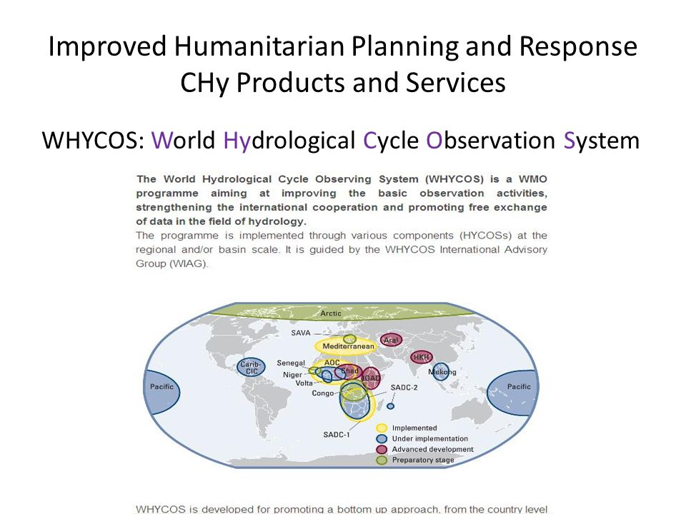 Improved Humanitarian Planning and Response CHy Products and Services WHYCOS: World Hydrological Cycle Observation System