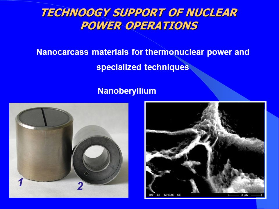 Nanocarcass materials for thermonuclear power and specialized techniques Nanoberyllium TECHNOOGY SUPPORT OF NUCLEAR POWER OPERATIONS