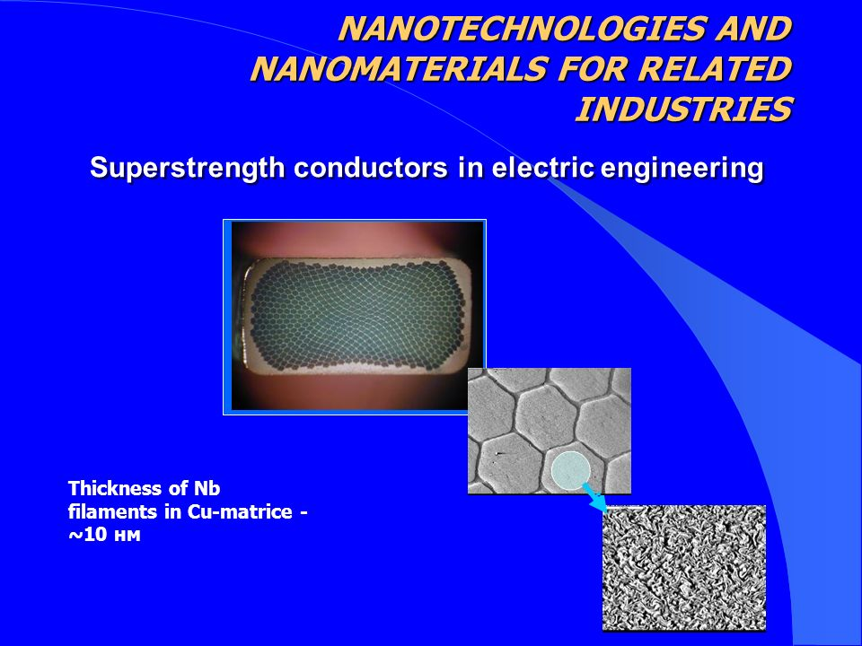 Superstrength conductors in electric engineering Thickness of Nb filaments in Cu-matrice - ~10 нм NANOTECHNOLOGIES AND NANOMATERIALS FOR RELATED INDUSTRIES