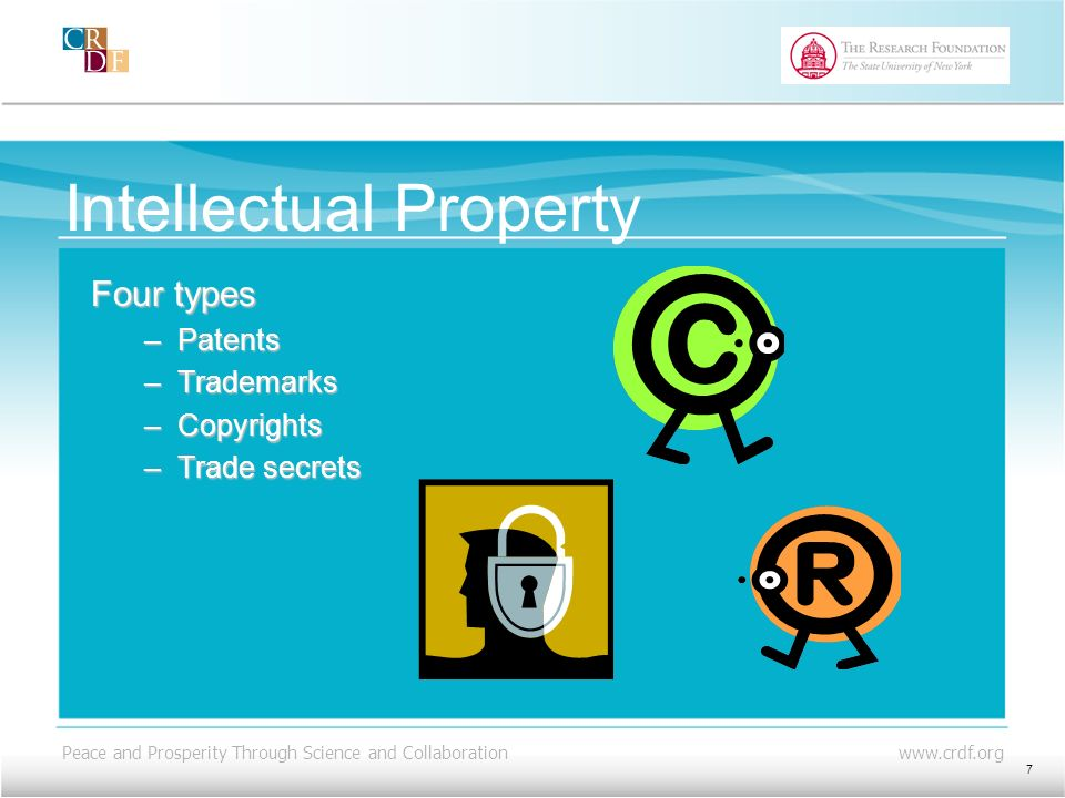Peace and Prosperity Through Science and Collaboration www.crdf.org Intellectual Property Four types –Patents –Trademarks –Copyrights –Trade secrets 7