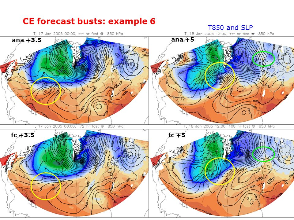 CE forecast busts: example 6 ana +3.5 fc +3.5 ana +5 fc +5 T850 and SLP