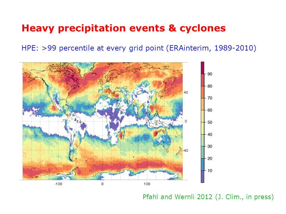 Heavy precipitation events & cyclones HPE: >99 percentile at every grid point (ERAinterim, 1989-2010) Pfahl and Wernli 2012 (J. Clim., in press)