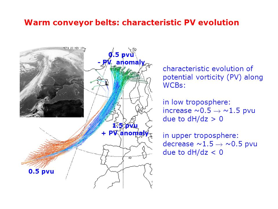 0.5 pvu - PV anomaly characteristic evolution of potential vorticity (PV) along WCBs: in low troposphere: increase ~0.5 ~1.5 pvu due to dH/dz > 0 in u