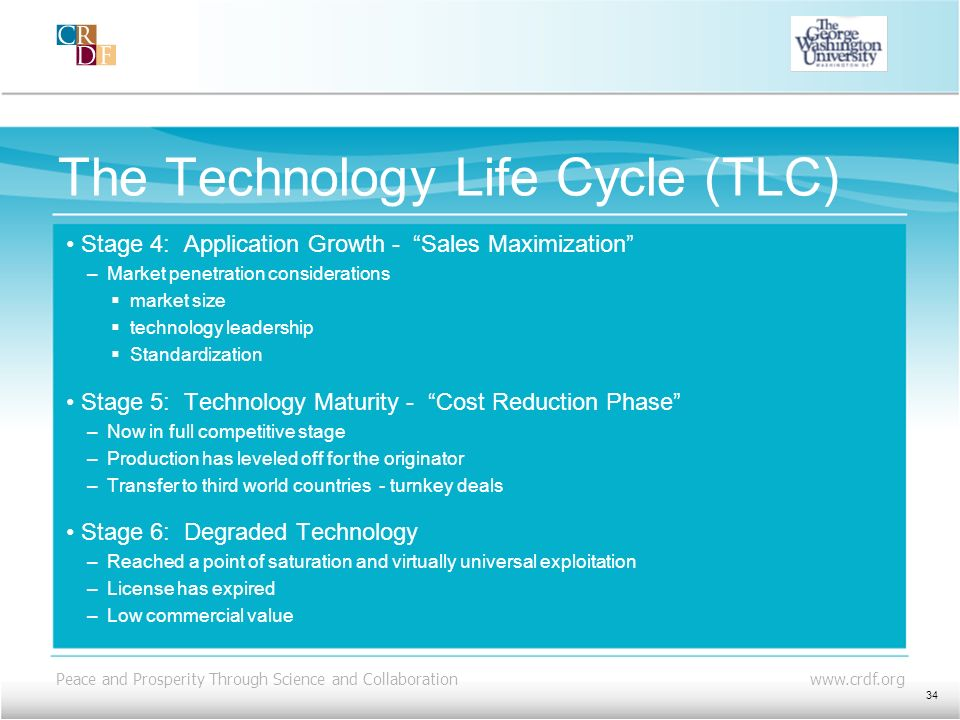 Peace and Prosperity Through Science and Collaboration www.crdf.org The Technology Life Cycle (TLC) Stage 4: Application Growth - Sales Maximization –