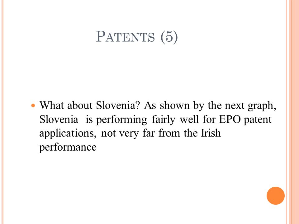 What about Slovenia? As shown by the next graph, Slovenia is performing fairly well for EPO patent applications, not very far from the Irish performan